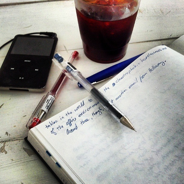 Photo at the coffee shop, ipod, notebook, iced coffee, by Golem Radio